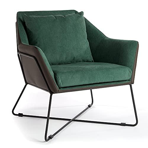 VonHaus Sessel – grüner Akzentsessel, Wohnzimmermöbel mit schwarzem Leder außen & modernem Gestell aus schwarzem Metall – Loungesessel zum Lesen