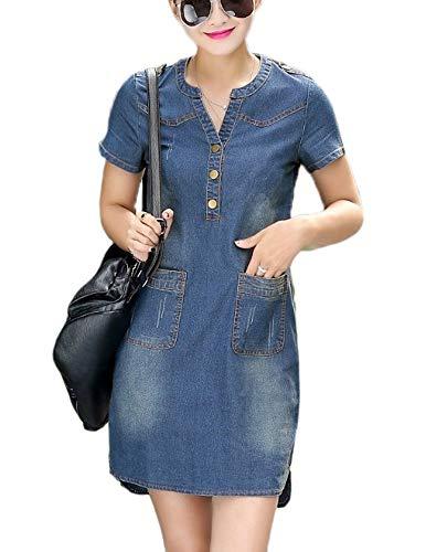 Vestido Suelto de Mezclilla de Verano para Mujer Vestido de Manga Corta para Damas Jean Talla Grande
