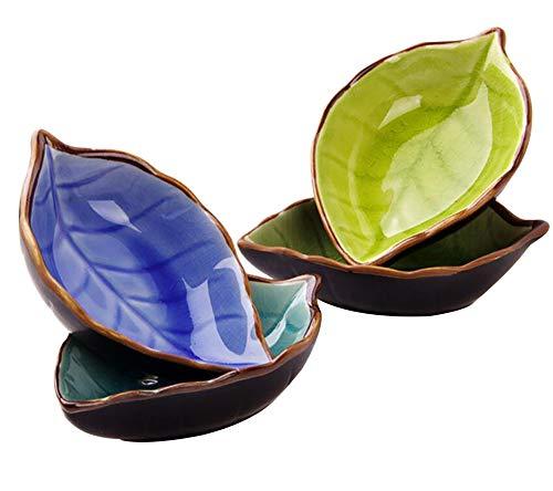 Maruis Mini-Schälchen in Blattform, aus Keramik, Set von 4Farben