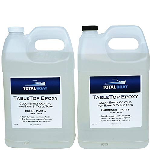 TotalBoat Epoxy Resin Crystal Clear - 2 Gallon Epoxy Resin & Hardener Kit for Bar Tops, Table Tops & Countertops | Pro Epoxy Coating for Wood, Concrete, Art