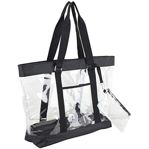 Eastsport Supreme Deluxe 100% Clear PVC Printed Large Tote with Free Large Wristlet, Black