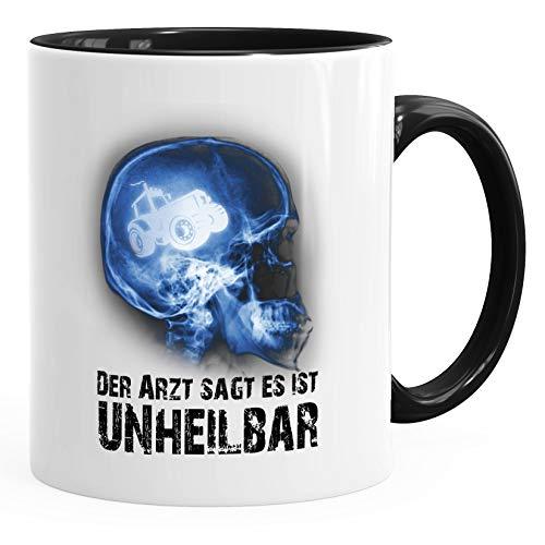Moonworks Taza de café Xray con texto en alemán 'Der Arzsagt es inheilbar Hobby cráneo, tractor, agricultor, granjero, diagnóstico, color negro, talla única