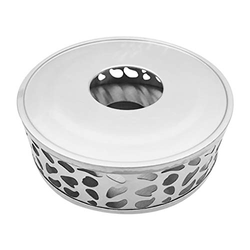 Camisin - Scaldacandela in acciaio con base rotonda per teiera, scaldacandela (senza candele)