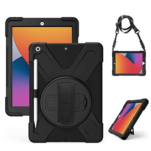 Gerutek Hülle für Neu iPad 10,2 Zoll (iPad 8. / 7. Generation), Stoßfeste Robust Panzerhülle mit Pencil Halter, Drehbar Stände, Handschlaufe, Schultergurt Schutzhülle für iPad 10,2