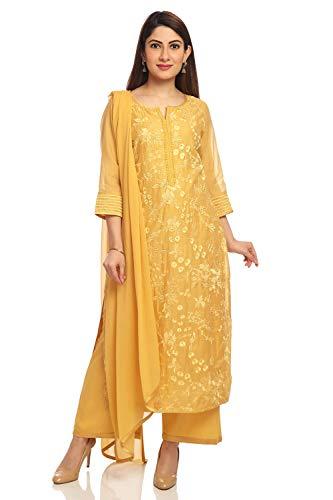 BIBA Mustard Straight Poly Cotton Suit Set Size 42