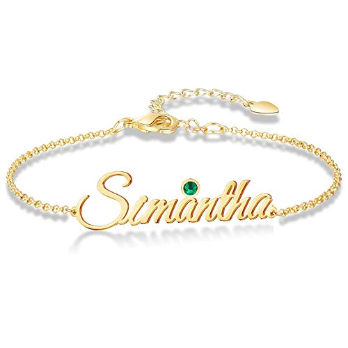 Bauma Personalized Name Bracelet or Anklet Bracelet Custom Made with Any Names for Women Girls Children Custom Name Charm Jewelry for Her Mothers Day (Style-2)