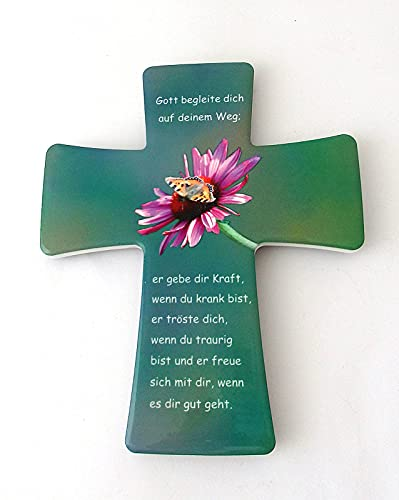 Keramische kruis ca. 15x12cm bloem/vlinder