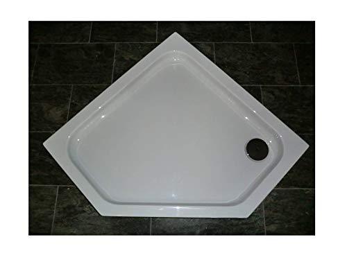Acryl Duschwanne 100 x 100 cm superflach 2,5 cm Fünfeck weiß Dusche/Duschtasse / Brausewanne