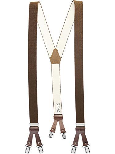Xeira Herren Damen Hosenträger mit 6 Clips und Lederriemen Braun/Braun - 803 Normale Größe