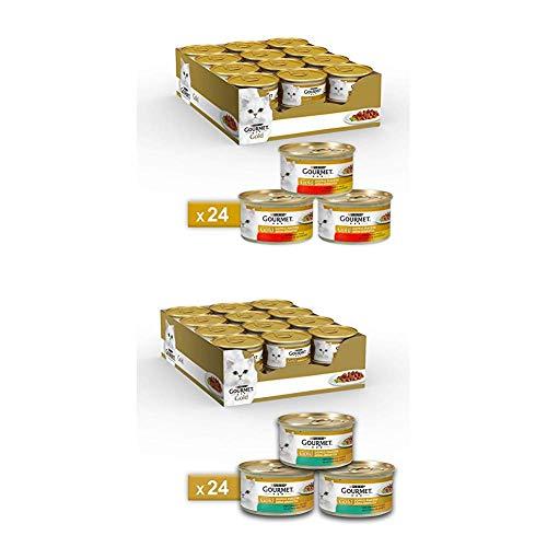 Purina Gourmet Gold Umido Gatto Doppio Piacere, 2 gusti diversi: 48 lattine da 85 g