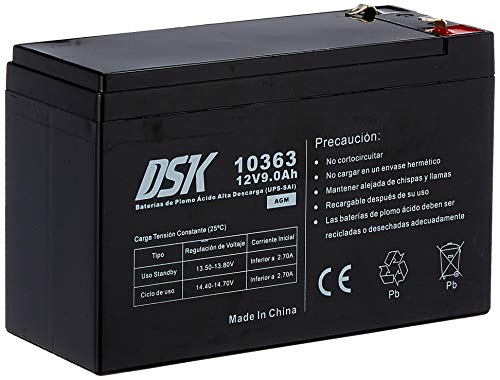 DSK 10363 - Batería Plomo Alta Descarga de 12V y 9Ah Ideal para UPS-SAI, Negro