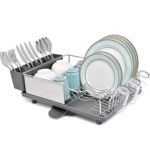 TOOLF Stainless Steel Dish Drying Rack, Dish Rack with Anti-Rust Frame, Optional 2 Direction Spout Drain Board Design, Removable & Large 4 Compartment Utensil Holder for Kitchen Countertop, Grey