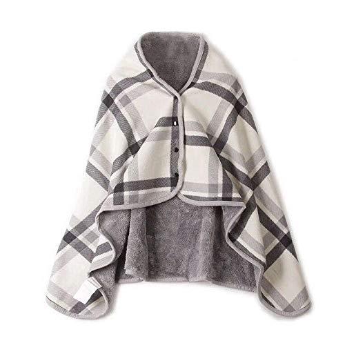 Y56 Dame Multifunktions Doublelayer Tartan Plaid Blanket Schal Wrap Schal Winter warm Ponchos Schal TV-Decke Blanket Decke Faul Kuscheldecke Geschenk (A)