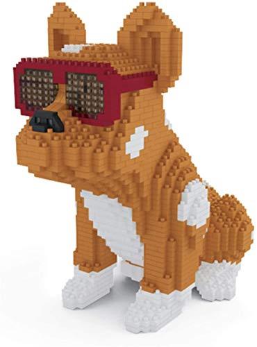 LNLJ Kit De Construcción De Perros, Micro Mini Block Bulldog DIY Modelo Educación Juguetes para Niños, Regalo De Descompresión para Adultos (1645Pcs),Amarillo