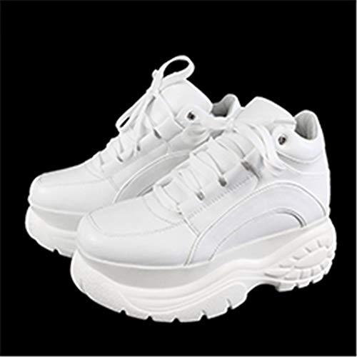 Oceansee Las mujeres de la Plataforma de las Zapatillas de deporte de Cuero Casual Señoras Grueso Zapatos Blanco Alto Negro Moda de Suela Gruesa Cuña Zapatillas de deporte Blanco 35