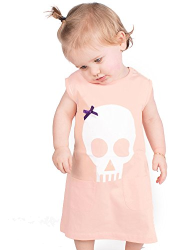 ALTERNATIVA bebé niñas vestido/ropa de bebé ducha regalo Idea de calaveras Punk pirata bebé niña regalos - bebé niña infantil y tamaños (Peach) Talla:6-12 meses.