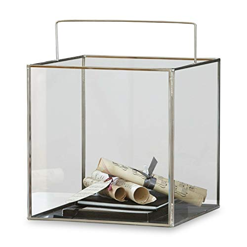 Loberon Windlicht Otero, Glas/Stahl, H/B/T ca. 25/25 / 25 cm, klar/Silber