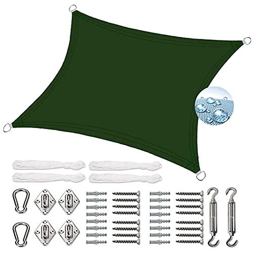 EIDEMED Toldo Parasol Rectangular 2x3m Impermeable Toldo Vela de Sombra Protección Visual Anillos de Acero Inoxidable para Terraza, Jardín, Balcón, Pérgola, Verde Oscuro