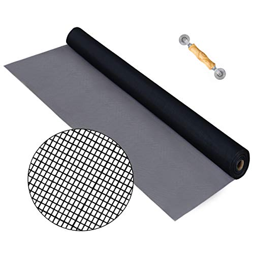 Senneny Standard Window Screen Roll 39' x 100ft – Fiberglass Screen Mesh Roll, Anti Mosquito Bug Insect Screen Replacement Mesh for Windows Doors and Patio Screens (39' x 100ft, Charcoal/Black)