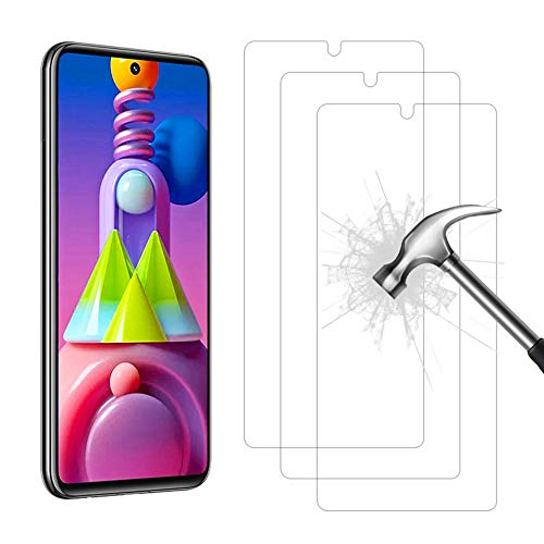 AHABIPERS Tempered Glass for Samsung Galaxy M51 Screen Protector, Easy Bubble-Free Installation, 9H Hardness, 99.99% HD Clarity Tempered Glass Protector for Galaxy M51-3 Pack