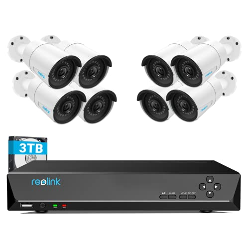 REOLINK 4MP 16CH PoE Security Camera System for Home and Business, 8pcs Wired Indoor Outdoor 1440P PoE IP Cameras, 8MP 16CH NVR with 3TB HDD for 24-7 Recording, RLK16-410B8