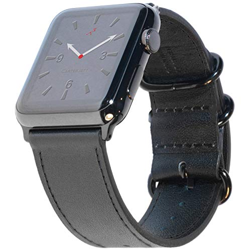 Carterjett XL/XXL Compatible with Apple Watch Band 42mm 44mm Black Genuine Leather iWatch Band Military-Style Replacement Strap Extra Long X- Large Wrists for Series 5 4 3 2 1 (42 44 XL/XXL Black)