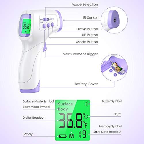 IDOIT Termometro Professionale Termometro febbre infrarossi a distanza Termometro digitale frontale Memoria 99 letture per Adulti Neonati Bambini