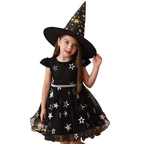 Moneycom❤ niño niña, niña, niña, Halloween Star Princess Performance vestido vestido vestido vestido vestido + sombrero ropa Halloween regalo de disfraz 2019 nuevo morado, rojo y negro Negro 3-4 Años