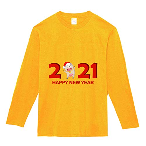 【】選べる6色 2021 新年 丑年 おもしろ tシャツ Tシャツ メンズ レディース キッズ 長袖 子供 大人おしゃれ t shirts tsyatu オリジナル お正月 年賀 年末 パーティー ギフトプレゼント プリントTシャツlt102-s05 (イ
