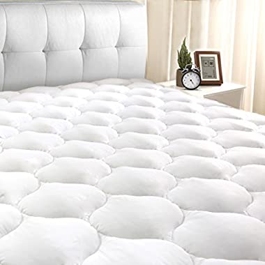 "King Mattress Pad Cover 8-21""Deep Pocket - Cooling Mattress Topper Overfilled 300TC Snow Down Alternative"