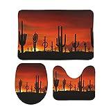 Kupen Forest Mountain Range Sunrise Volcano Dawn Dusk Landscape Set of 3 Flanellstoff Bad Kommode Contour Teppich Anzug für Badezimmer White 40x60cm