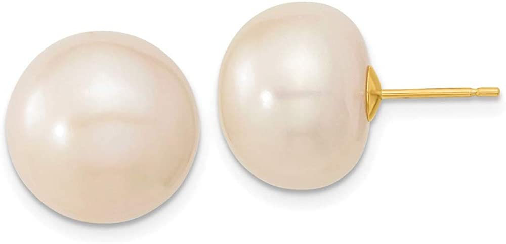 14k 13-14mm White Button Freshwater Cultured Pearl Post Earrings style X130BW