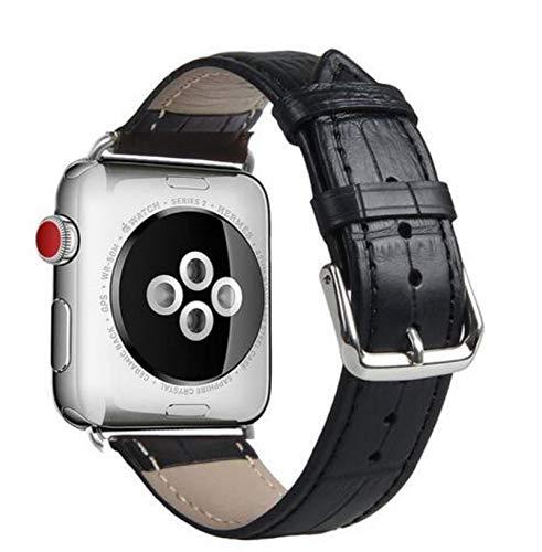 Bucle de cuero extra largo de doble recorrido de gran promoción para Iwatch Series 5 4 2 3 1 para Apple Watch Band Correa 38 mm 42 mm 40 mm 44 mm-cocodrilo-negro, para 42 mm y 44 mm