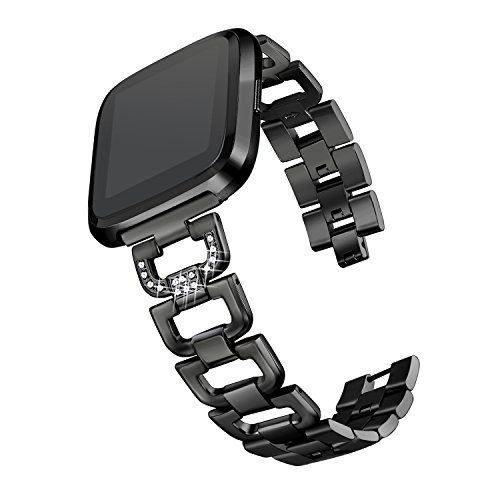 "bayite Bling Bands Compatible with Fitbit Versa/Versa 2, Stainless Steel D-Link with Rhinestones, Black 5.5"" - 8.1"""