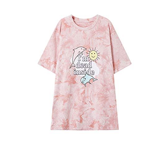 Ladies Summer Kurzarm-T-Shirt mit Rundhalsausschnitt und Batikdruck Mittellanges, lockeres, lässiges Pulloveroberteil M