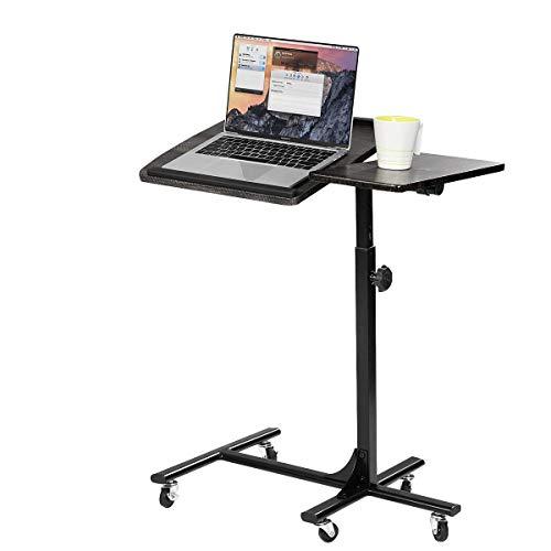 MEUBLE COSY Table de Lit pour Ordinateur Portable Hauteur Réglable 5 roulettes Verrouillables Support Pliable Bois Bureau PC Noir, Métal, 60x40x90 cm