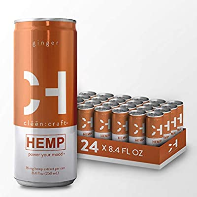 cl??n:craft | Mood-Boosting, Non-Alcoholic Premium Sparkling Hemp Drink, Organic Non-GMO Flavors, Add to Cocktails, Low Calorie & Caffeine-Free, Plant-Based Nootropic Beverage (Ginger, 24 Pack) from CLEEN:CRAFT