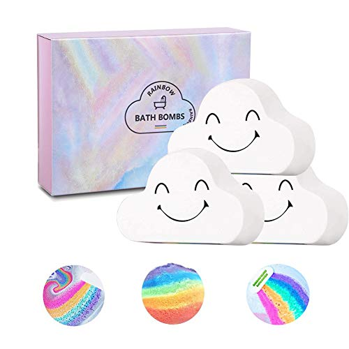 Sagekia Rainbow Bath Bombs (3 Pack), Large Size 6.35oz Organic Bath Bomb Gift Set, Gentle and Kid Safe Bubble Spa to Moisturize Skin, Idea for Her, Girls, Women and Kids