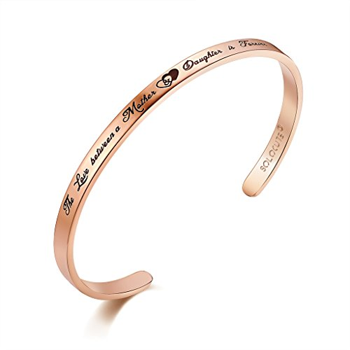 Solocute Damen Armband mit Gravur The Love Between Mother & Daughter is Forever Inspiration Frauen Armreif Schmuck