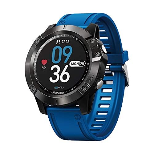 XYJ ZEBLAZE Vibe 6 Reloj Inteligente Llamada de Bluetooth, 1,3 Pulgadas Pulsera de Pantalla táctil de Color IPS 300mAh Modo de Deporte Multi, Negro (Color : Blue)