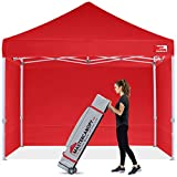 MasterCanopy Ez Pop-up Gazebo Tent 2.5x2.5 Commercial Instant Canopies with 4 Removable Side Walls and Roller Bag, Bonus 4 SandBags(2.5x2.5M,Red)