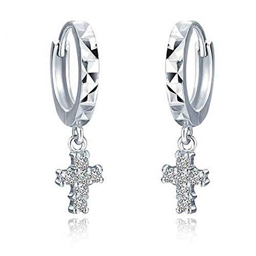 Belons Damen Ohrhänger 925 Sterling Silber Zirkonia Kreuz Creolen Ohrringe Mädchen Ohrschmuck, Muttertagsgeschenk