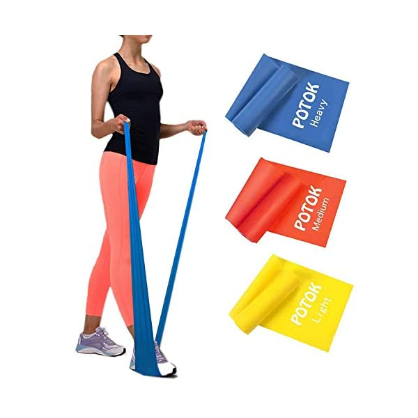 Potok Resistance Bands Set, 3 Pack Latex Exercise Bands with Different Strengths,Elastic...