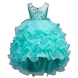 Turquoise Ruffles Lace Party Dress With Sequins