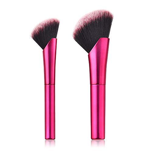 Posional Pinceau Maquillage Cosmétique Professionnel, Lot de 2PCS Transparente Plastique Coloré Soyeux et Denses Cosmétique Brush pour Liquides, Crèmes, Eyeliner et Fard à Paupières