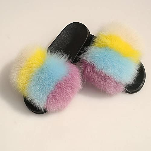 COQUI Sandalia Hombre,Inicio Peluche Zapatillas de Verano Señoras de Verano Zapatillas de Piel-Color de Color 21_24-25
