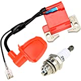 HIAORS Red Racing Ignition Coil with L7T Spark Plug for 2 Stroke 47cc 49cc Engine Kids Mini Moto Quad ATV 4 Wheeler Pocket Dirt Bike Minimoto Chopper Scooter GO Cart