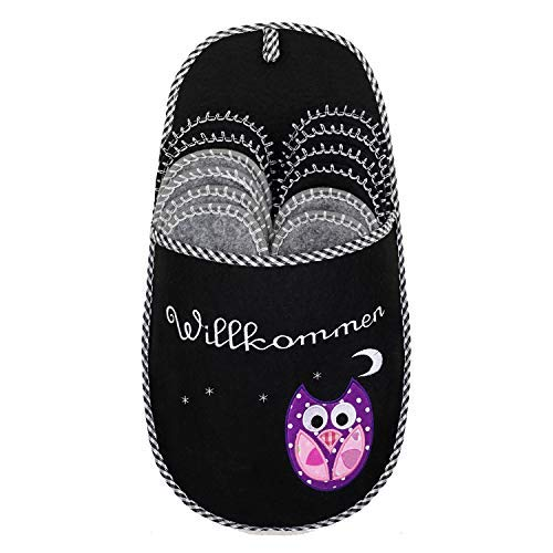 ONVAYA Pantofole per ospiti antiscivolo | set di 6 | Ciabatta in feltro | Gufo nero gufo Owl