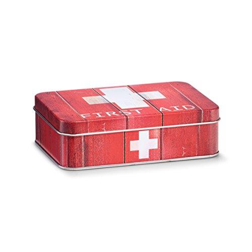 "Zeller 19231 Medizin-Box ""First Aid"", Metall, rot, ca. 14 x 10,1 x 4,2 cm"