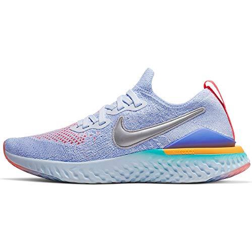 Nike Girls' Big Kids Epic React Flyknit 2 Running Shoes (5.5, Aluminum/Metallic Silver/Racer Pink)